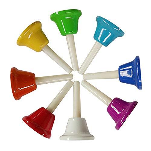 Yalloy Handbells Set Metal Hand Bells Set Coloful Toddler Handbell Musical Toy 8 Note Diatonic For Kids Bells Instrument,Festival,Musical Teaching,Church Chorus,Wedding,Family Party