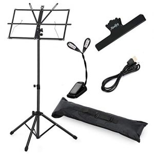 Moukey Sheet Music Stand, MMS-1 Adjustable Portable Folding Metal Music Stand With LED light, Music Sheet Clip Holder and Carrying Bag Suitable for Instrumental Performance (Black)