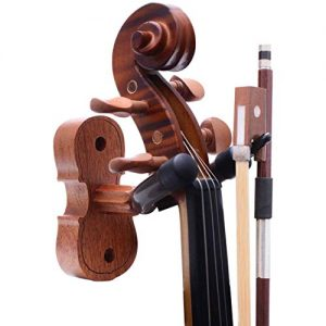 Violin Wall Mount Violin Hanger Hardwood Hangers Mahogany Violin holder with Violin Bow Hook