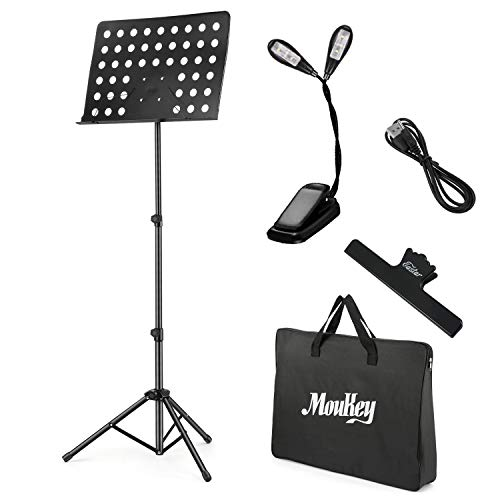 Moukey Folding Sheet Music Stand 19.6'' X 13.2'' MMS-2 Portable Travel Metal Adjustable Music Stand With Stand Light, Music Clip Holder, Carrying Bag, Black
