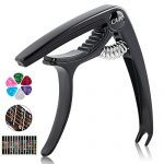 EFIMERO Guitar Capo for Acoustic and Electric Guitar, No Buzz, Comfortable for Guitar, Easy for you, Premium Ukulele Capo Suit for Mandolin, Banjo and Bass, with Guitar Fretboard Sticker and 6 Picks