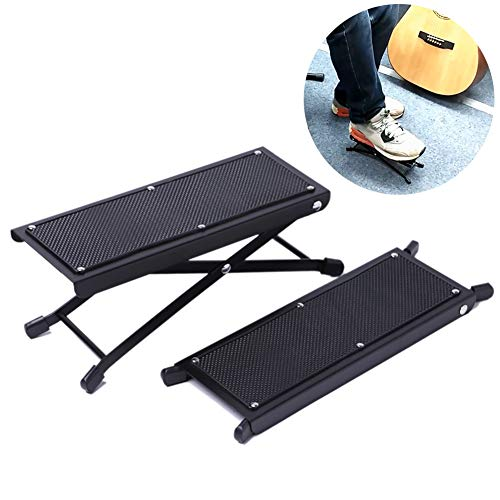 Beher Adjustable Guitar Foot Rest, Metal Folding Guitar Footstool Rest Anti-Slip Stand Height Stand Footboard for Musical Instrument