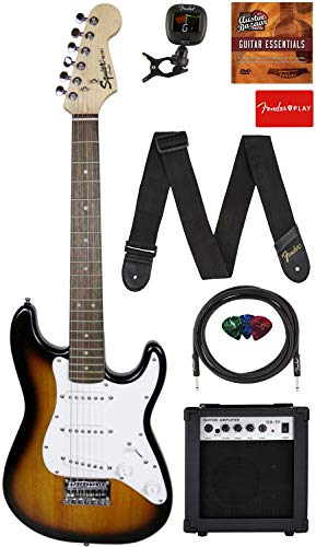 Fender Squier 3/4 Size Kids Mini Strat Electric Guitar Learn-to-Play Bundle