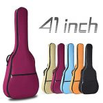 YiPaiSi 41 Inch Acoustic Guitar Bag, Waterproof 0.3inch Padded Gig Bag Guitar Case, Dual Adjustable Shoulder Strap Acoustic Guitar Gig Bag Backpack (Red)