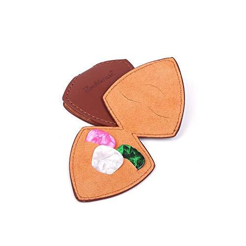 Portable Guitar Pick Holder PU Leather, Guitar Pick Case Bag Plectrum Case for Acoustic Electric Guitar Gift for Men Women