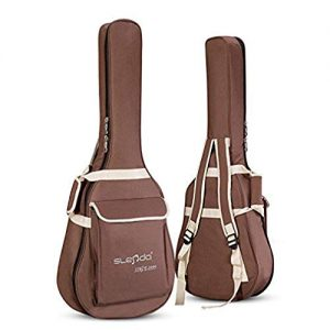 "40/41 Inch Guitar Gig Bag Case Waterproof Dual Adjustable Shoulder Strap Padded Acoustic Guitar Bag Case Carrying Backpack for 40"" 41"" Guitar (Brown)"