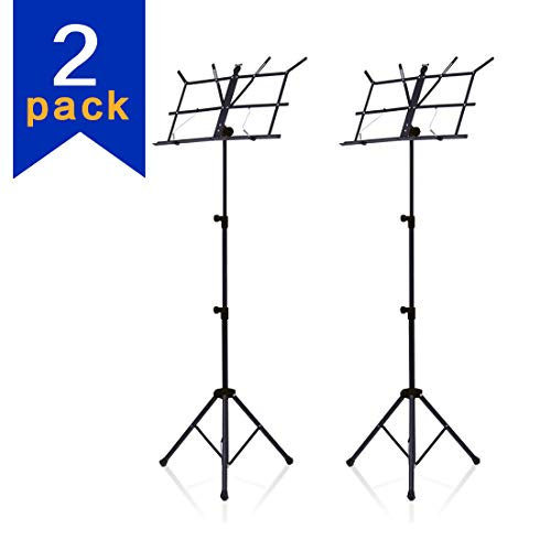 2 Packs Sheet Music Stand Metal with Carrying Bag and Music Sheet Clip Holder