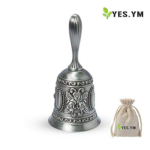 YES.YM Hand Call Bell Multi-Purpose Hand Bell for Wedding Decoration,Alarm,School Church Classroom,Bar (Silver)