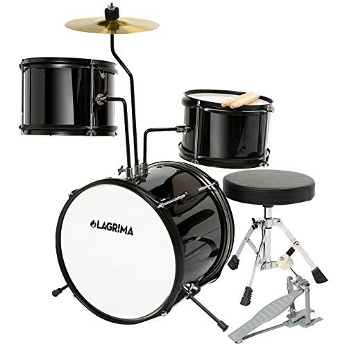 LAGRIMA 3 Piece Kids Drum Set with Adjustable Throne, Cymbal