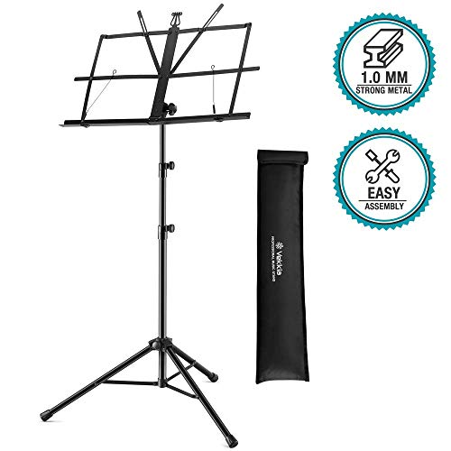 Vekkia Metal Folding Music Stand - Professional Portable Stand for Sheet Music, Adjustable Music Holder with Carrying Bag, Black