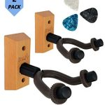 Guitar Hanger Wall Mount 2 pack – Easy to install guitar wall mount – Electric/acoustic/bass guitar wall hanger – Guitar wall hook for string instruments – Wood guitar holder – Aesthetic guitar mount