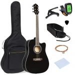 Best Choice Products 41in Full Size Acoustic Electric Cutaway Guitar Set w/Capo, E-Tuner, Bag, Picks, Strap – Black