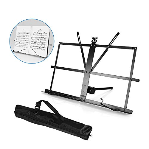 Book Stand, Adjustable Book Holder Tray and Portable Sheet Music Stand Metal Professional Folding Music Holder Desk Sturdy Lightweight, Black, By Vangoa