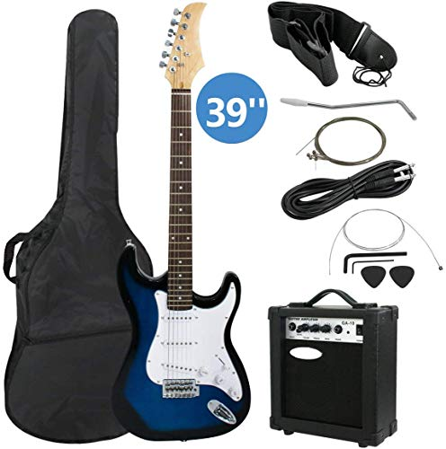 lectric Guitar Full Size Blue Beginner Guitar with 10W Amp