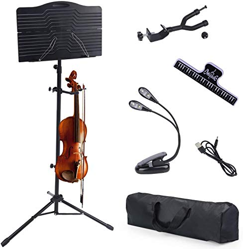 Klvied Sheet Music Stand with Violin Hanger, Portable Folding violin Stand, Foldable Music Stand for Sheet Music, Violin Music Stand with Carrying Bag, Light, Black