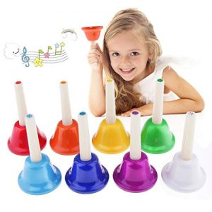 Alnicov Music Hand Bell Rhythm Band Kids Play Hand Bells, 8 Sound, 8 Color Musical Bell for Kids, Senior, Teacher, Desk Bell Metal Hand Bells Set (one set of 8 notes)