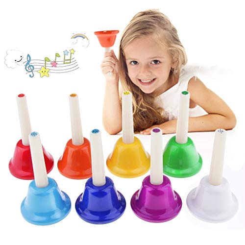 Alnicov Music Hand Bell Rhythm Band Kids Play Hand Bells, 8 Sound, 8 Color Musical Bell for Kids, Senior, Teacher, Desk Bell Metal Hand Bells Set (one set of 8 notes)