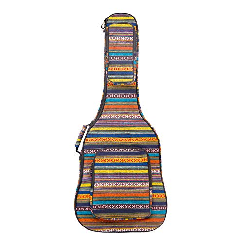 Glenmi 40 41 Inch Acoustic Guitar Case Gig Bag With 3D Pockets,Neck Protector Pillow Pad,Bohemian Style,12mm Sponge Padded