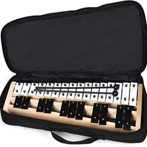 Glockenspiel Xylophone, Percussion Instrument with Wood Base and 27 Metal Keys