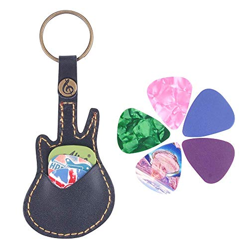Guitar Picks Case Leather Pick Keychain Guitar Picks Holder Plectrums Case Bag with 5Pcs Guitar Picks Gift (Guitar Pick Case-Black)