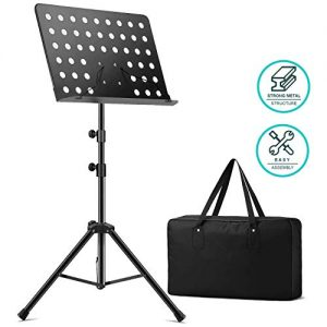 Tontomtp Music Stand for Sheet Music, foldable metal stand, gift bag (Black)