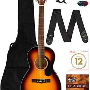 Solid Top Parlor Size Acoustic Guitar Bundle with Gig Bag