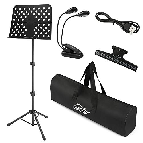 Eastar Music Stand for Sheet Music Metal EMS-1 Podium Stand Projector Stand Folding Portable Music Stand with Carrying Bag with Light and Clip, Black