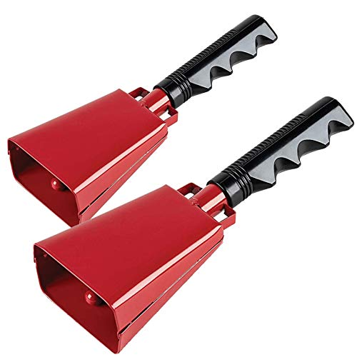 2 pack 7 in. steel cowbell/Noise makers with handles. Cheering Bell for sporting, football games, events. Large solid school hand bells. Cowbells. Percussion Musical Instrument. Cow Bell Alarm (Red)