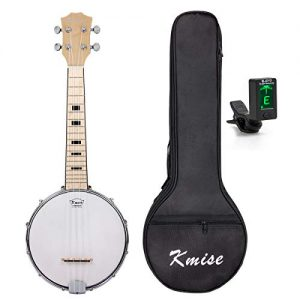 Kmise Banjo Ukulele 4 String Ukelele with Bag