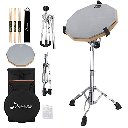 Donner Drum Practice Pad With Snare Drum Stand Adjustable Ki