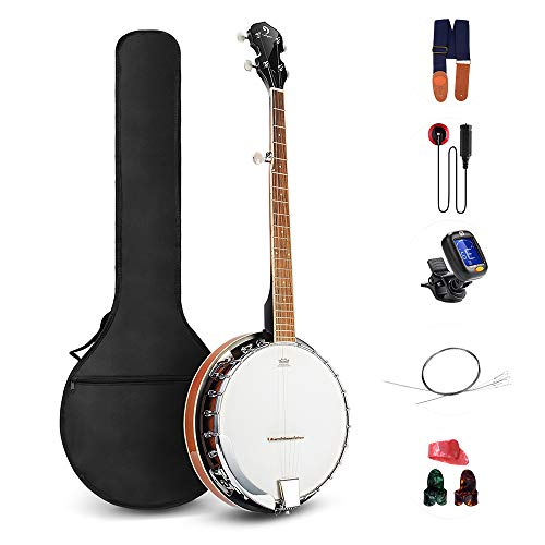 Vangoa 5 String Banjo Remo Head Closed Solid Back with beginner Kit