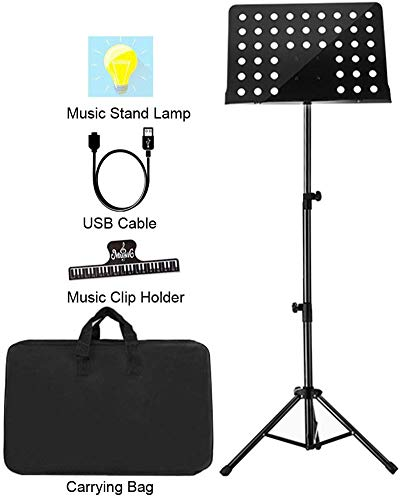 "Sheet Music Stand Lunies Highest 63"" Portable Violin Guitar Music Book Holder with LED Light,Paper clip,Carrying Bag Black"