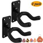 Guitar hanger Guitar hook Guitar holder Guitar wall mount hangers for Electric Acoustic and Bass Guitars (2 Pack Metal Square)