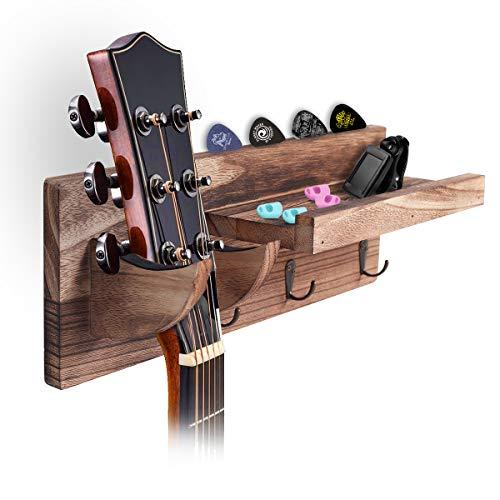 Refrze Guitar Holder Wall Mount Bracket Hanger Guitar Wood Hanging Rack with Pick Holder and 3 Hook