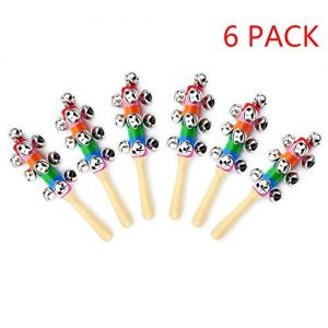 ZEAVOLA 6Pcs Wooden Jingle Hand Bells,Rainbow Handle Wooden Bells Jingle Stick Shaker Rattle Baby Kids Children Musical Toys