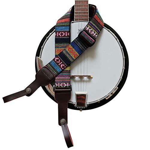 Soft Cotton & Genuine Leather Delux Banjo Strap,