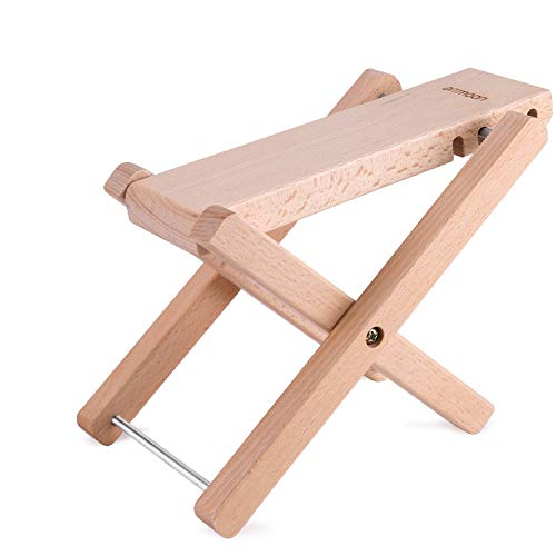 ammoon Guitar Foot Rest Foldable Solid Beech Wood Footstool Footrest Pedal 4 Levels Adjustable Height for Acoustic Classic, Folk Guitars