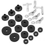 Hi Hat Cup Felt Cymbal Sleeves with Base Wing Nuts Cymbal Washer and Drum Keys for Drum Set