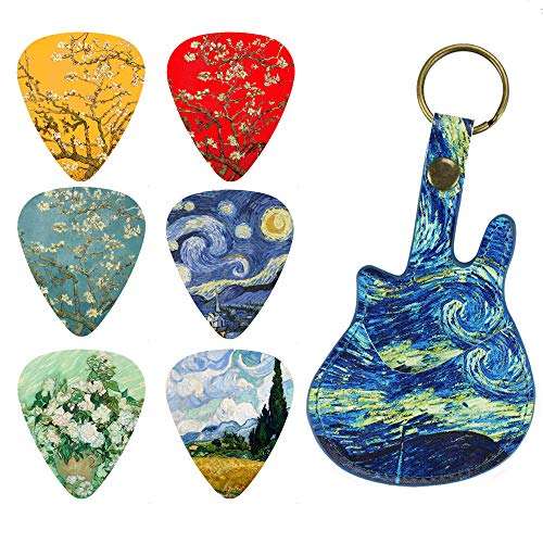 Guitar Picks - LIZIMANDU 12 Medium Gauge Celluloid Guitar Picks In Guitar Shaped Picks Holder. Unique Guitar Gift For Bass, Electric & Acoustic Guitars (Starry Sky1)