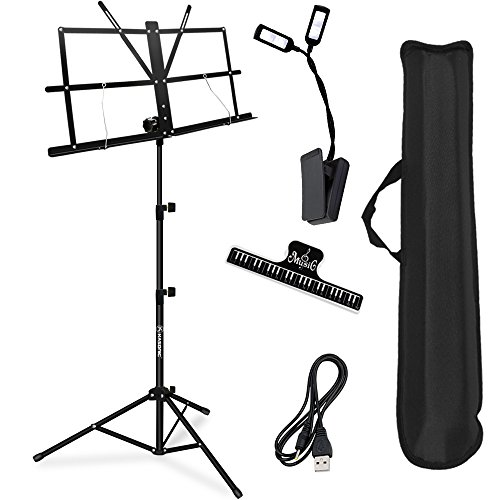 Music Stand, Kasonic Professional Collapsible Orchestra Portable and Lightweight with LED light, Music Sheet Clip Holder and Carrying Bag Suitable for Instrumental Performance (Black)