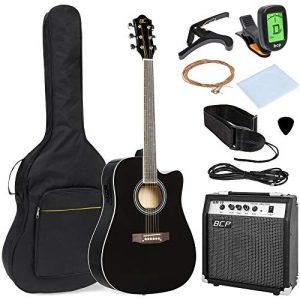 Acoustic Electric Cutaway Guitar Set w/ 10-Watt Amp, Capo, E-Tuner