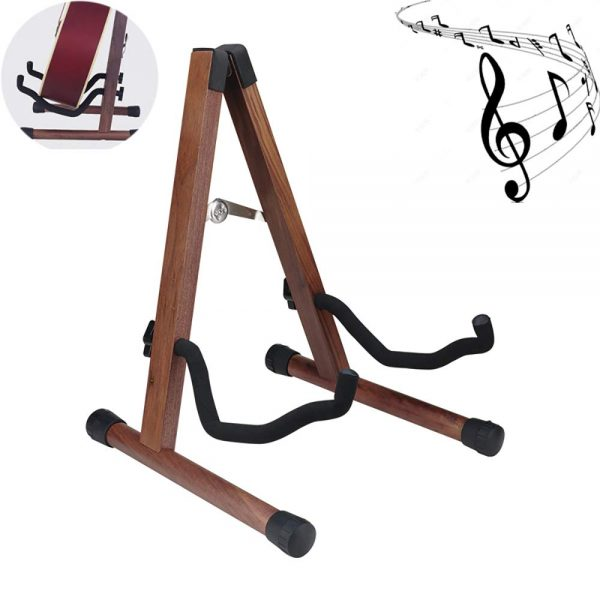Wooden A-Frame Guitar Stand Acoustic Floor Acoustic Guitar Stand Electric Instrument Folding Bass Guitar Display Stand Compatible with Cello, Mandolin for Studio/Concert/Recording Studio