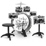 Best Choice Products 11-Piece Kids Starter Drum Set w/Bass Drum, Tom Drums, Snare, Cymbal, Stool, Drumsticks – Black