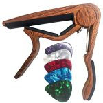 WINGO Classical Flat Guitar Capo for Nylon String Guitars-Rosewood Finish with 5 Picks.