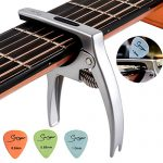 Multifunction Guitar Capo 3 in1 Zinc Alloy Metal Capo Silver with Pick Holder and 3 Picks Capo for Acoustic Guitar Ukulele Banjo Mandolin by Smiger Universal capos
