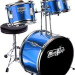 Music Alley 3 Piece Kids Drum Set with Throne, Cymbal, Pedal & Drumsticks, Blue, (DBJK02).
