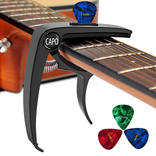 Guitar Capo 3 in 1 Zinc Metal Capo for 6 String Acoustic Guitar Banjo Electric Ukulele Bass Banjo Mandolin with Free 3 PCS Guitar Picks (Black)