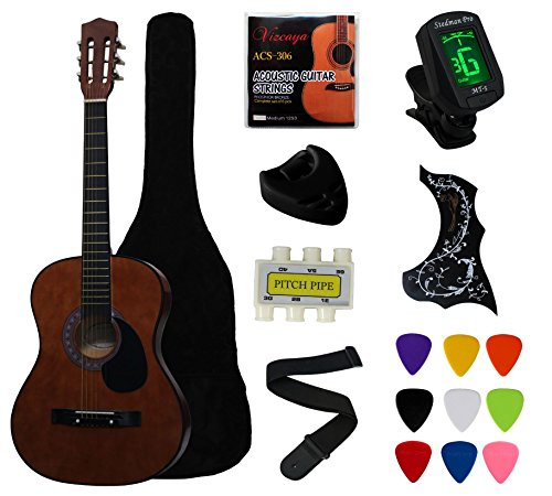 Coffee Beginner Acoustic Guitar Starter Package Student Guitar