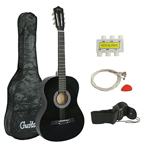 """ZENY 38"""" New Beginners Acoustic Guitar With Guitar Case, Strap, Tuner and Pick (Black)"""