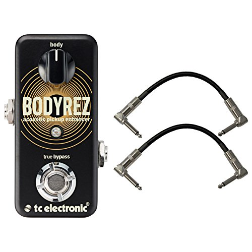 TC Electronic 960819005 Body Rez Acoustic Pickup Enhancer Pedal with a Pair of Pedalboard Patch Cables